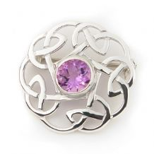 Celtic Knot Brooch with Amethyst Stone